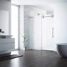 vigo vg6041stmt6074r elan 56 60 inch right sliding frameless shower door with 3 8 frosted glass and 304 stainless steel hardware in stainless steel