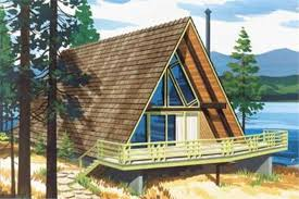 #146-1535  This is a colored rendering of A Frame House Plans LS-H-6-