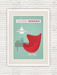Danish modern poster, Arne Jacobsen Egg chair print, mid century modern art  - product ...