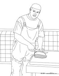 Butcher slicing meat coloring pages - Hellokids.com