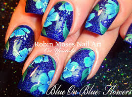 Robin Moses Nail Art: Blue Polish with Blue Flowers!