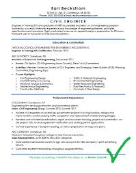 CV And Resume Format For Civil Engineers Download In DOCX PDF Free Best Resume Of Civil Engineer Fresher