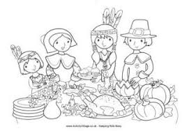 The first landing of mayflower pilgrims lead by. Thanksgiving Colouring Pages