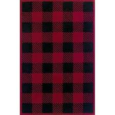 red black buffalo check wool rug plaid outdoor