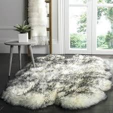 4x6 faux sheepskin rug prairie natural pelt wool ivory smoke grey 4 x 6