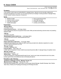 massage therapist resume example  healthy self therapy  amp  wellness    xxxx x  massage therapy