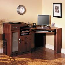 sleek wooden corner home computer desks with chest of drawers