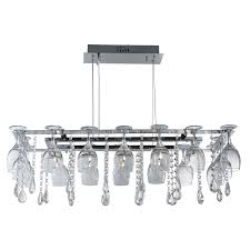 searchlight vino 10 light wine glass crystal rectangle ceiling light