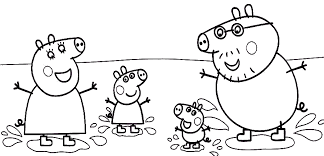 Small Picture Peppa Family Muddy Puddles Coloring Page Peppa Pig Party Ideas