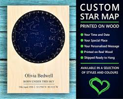 Star Chart Of A Certain Date Star Map The Night Sky Map Star Chart Mothers Day Gifts For Mom Gift From Daughter Gifts For Mum Rustic Home Decor Day You Were Born