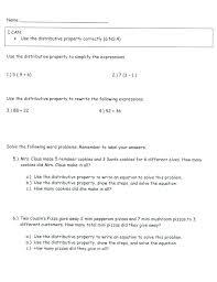 distributive property worksheets 6th grade distributive