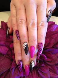 Pink and black gelish gel polish with freehand nail art and ...