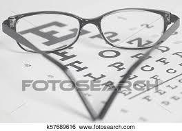 Eyeglasses On Eyesight Test Chart Background Stock