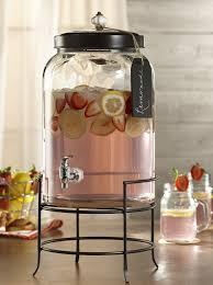 glass beverage dispenser with metal lid