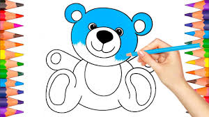 teddy bear colorful drawing how to draw and color teddy bear coloring book pages video for