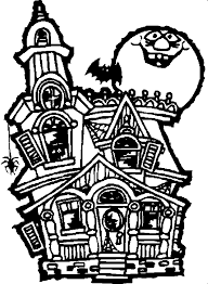 Small Picture Haunted house coloring sheet and story starter classroom Helpers