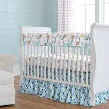 watercolor mermaids crib bedding