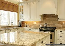 travertine subway backsplash tile idea