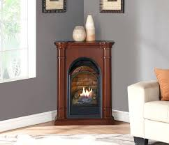 corner ventless gas fireplace small vent free all included white mantel brick liner black