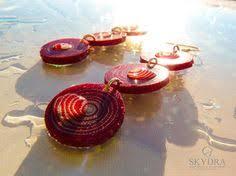skydra jewelry earrings red earrings autumn red earrings red and white circle earrings nickel free