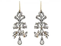 of antique style diamond chandelier earrings in silver over gold