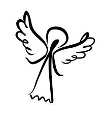 トランペットと天使と彼の手で星を持つ天使フリーハンド ラインの