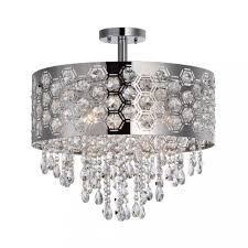 hexagon patterned drum shade crystal semi flush mount chromeceiling lights