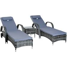 outsunny garden rattan furniture 3pc sun lounger recliner bed chair set grey