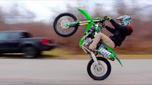 crazy dirt bike road wheelies youtube