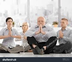 how to meditate in office. Office Meditation. Businesspeople Doing Meditation In With Closed Eyes, Hands Put Together, How To Meditate