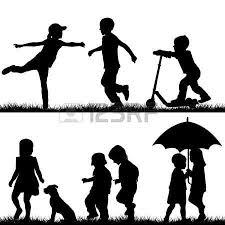 Bambina Con Cane Sagome Di Bambini Che Giocano Disegni Silhouette Of