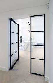modern internal door with built in handle and aluminium door frame