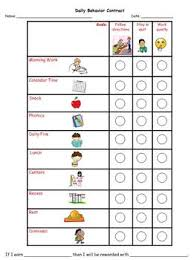 Daily Behavior Charts For Autistic Students Daily Behavior Contract With Picture Schedule
