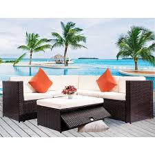 pe rattan wicker patio dining table set