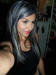 black hair with gray highlights photo 1