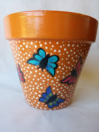 Pot Decoration Designs Pottery hand painted pot butterfly clay pot butterfly design hand 8