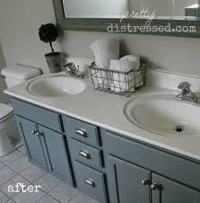 Paint A Bathroom Countertop Pretty Distressed Bathroom Vanity Makeover With Latex Paint