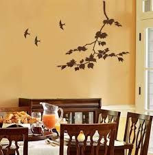 ... Charming Home Interior Decoration With Stencil Wall Arts :  Extraordinary Dining Room Decoration With Light Yellow ...
