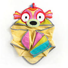 mackenzie childs hooded towel set with 3 washcloths happy fish new in box