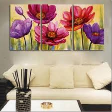 3 piece hand painted art canvas set modern abstract oil painting on canvas wall art deco home decoration flower in bloom 3 pic set stretched ready to hang