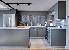 modern track lighting with grey colored kitchen cabinet for small kitchen renovating ideas