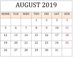 August Calandar August 2019 Printable Calendar Planner Freelatest Calendar
