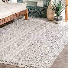nuloom flatweave geometric diamonds tassel natural cotton area rug in off white