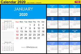 editable monthly calendar template editable monthly calendar template 2020