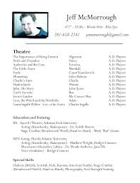 Theatre Resume Templates Adorable Musical Theatre Resume Template Free Free Acting Resume Template