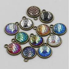details about 5 10 20x charms resin metal mermaid fish scale pendant necklace diy jewelry
