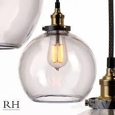 restoration hardware 20th c factory filament clear glass cafÉ pendant