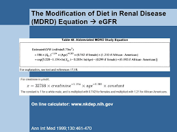 the modification of t in renal disease mdrd equation egfr