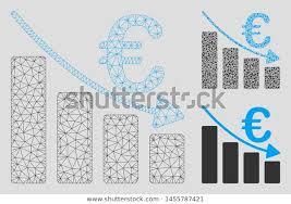 Mesh Euro Recession Bar Chart Model Stock Vector Royalty