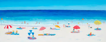 a panorama beach painting of umbrellas and people having fun at the seaside